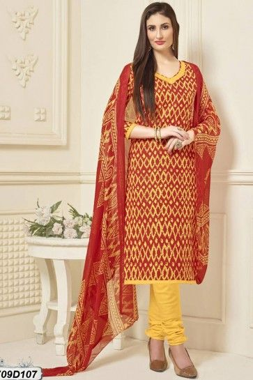 Red, Yellow color Poly Cotton Churidar Suit