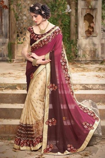 Cream, Brown, Magenta Georgette, lycra  Saree