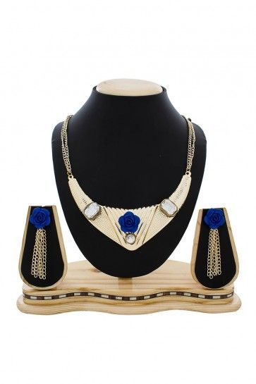 American Diamond Golden & Blue Necklace Set