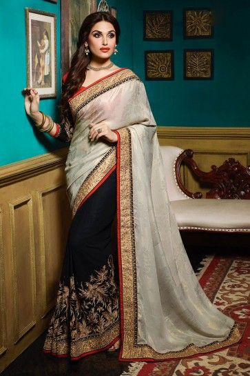 Black , Silver Georgette ,Satin Silk Saree