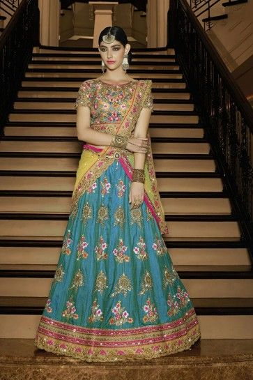 Teal Blue Sahi Silk Bridal Lahanga