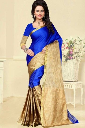 Royal Blue & Golden Cotton Silk Saree
