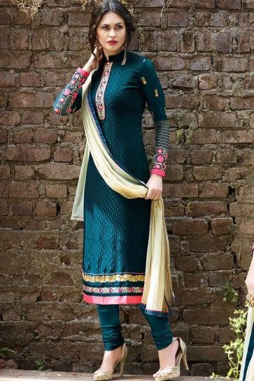 Blue Georgette Brasso Churidar Suit