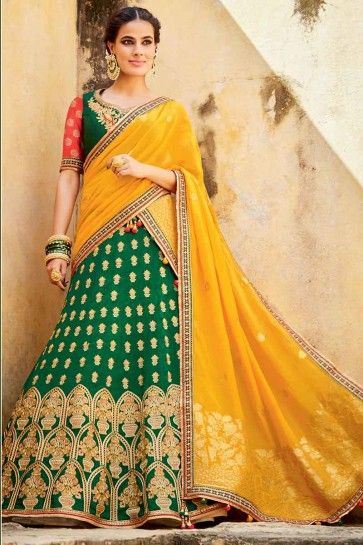 Dark Green Silk Jacquard Lehenga Choli