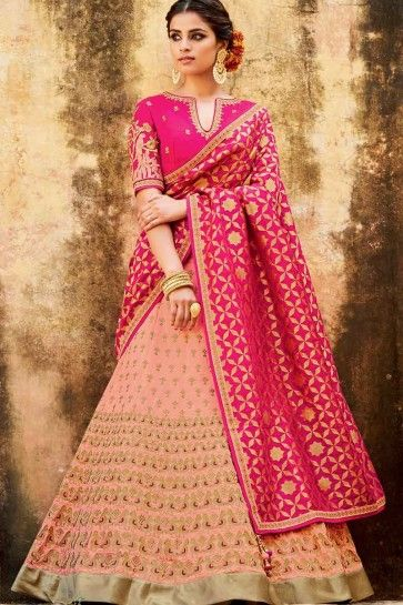 Light Pink Tussar Silk Lehenga Choli