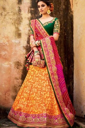 Orange Silk Jacquard Lehenga Choli
