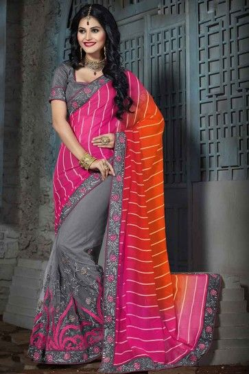 Grey,Pink & Orange Chiffon & Net Saree