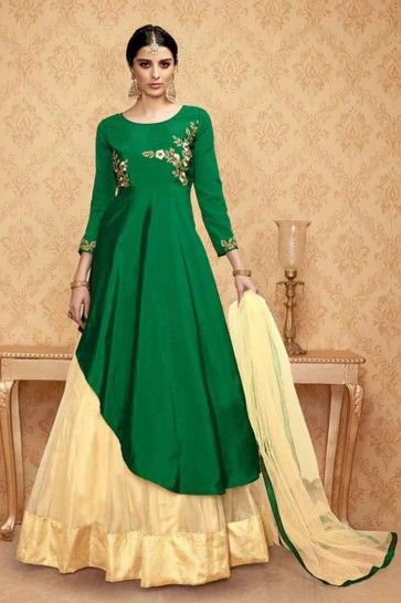 Dark Green Banglori Silk Anarkali Suit