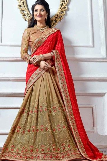 Red & Dark Beige  Fancy Fabric & Silk Saree