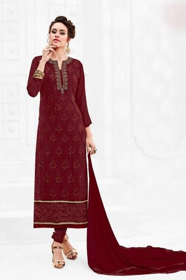 Maroon color Georgette Churidar Suit