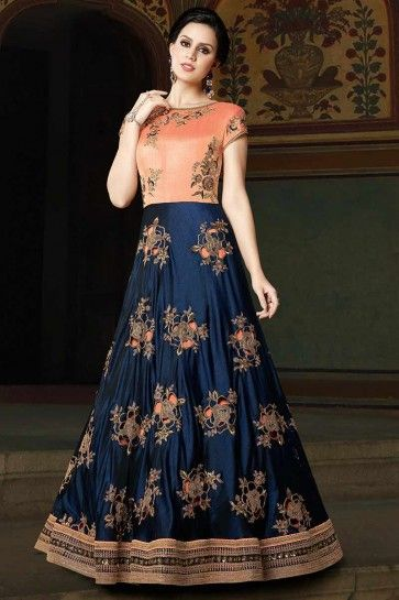 Navy Blue & Peach color Art Silk Anarkali Suit