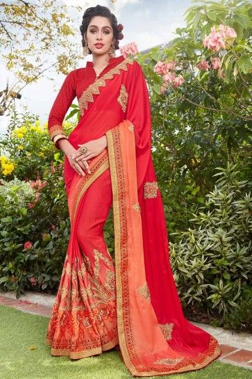 Red color Silk Georgette Saree