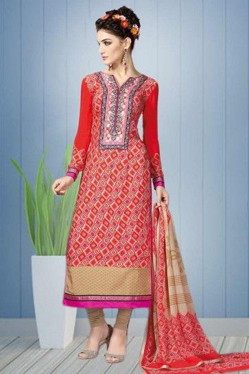 Red color Crepe Salwar Kameez