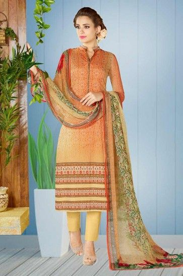 Light Orange color Cotton Salwar Kameez