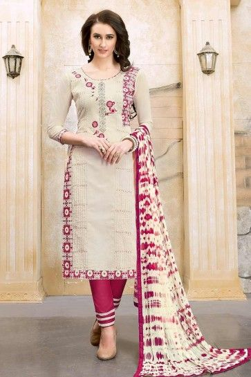 Off-White color Modal Cotton Churidar Suit