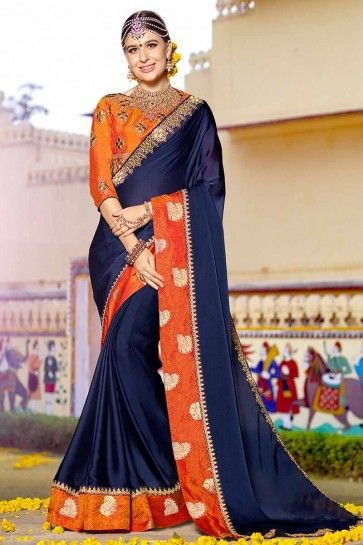 Navy Blue color Silk Georgette Saree