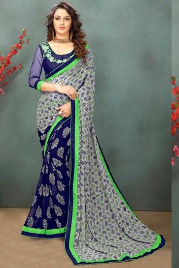 Grey & Navy Blue color Georgette Saree