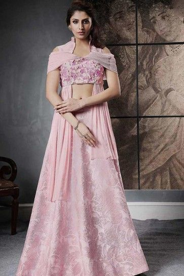 Baby Pink color Jacquard Silk Indo-western lehenga