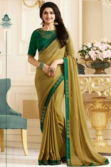 Pear Green color Georgette saree