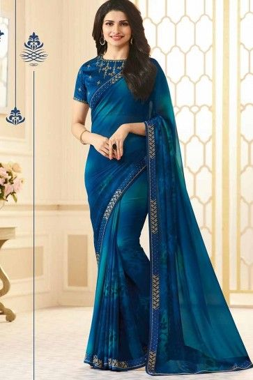 Dark Blue color Georgette saree