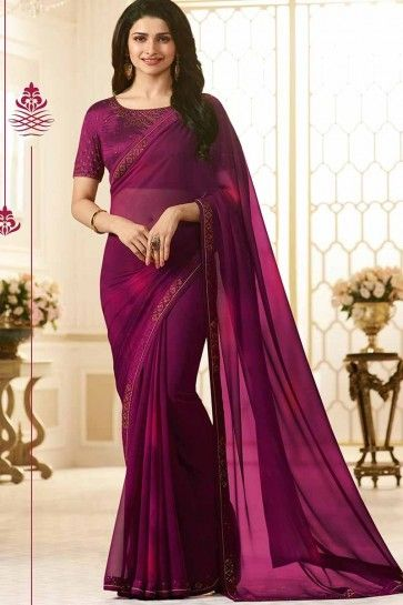 Wine color Georgette saree