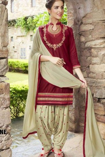Maroon Cotton Patiala Suit