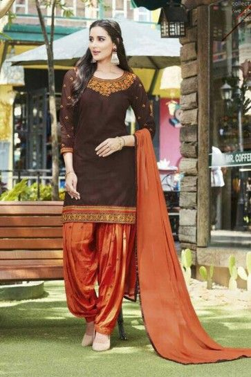 brown JAM SILK Patiala Suit