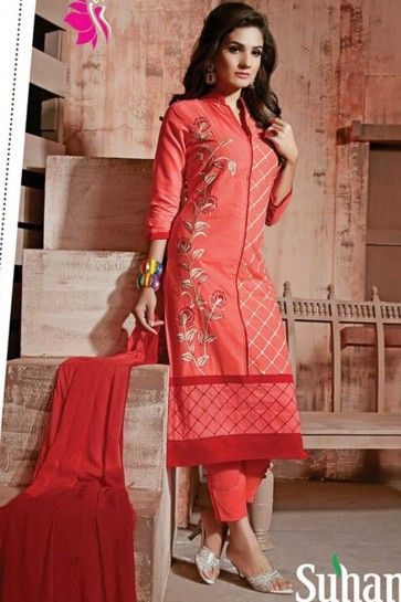 peach Cotton Semi Lawn Salwar kameez