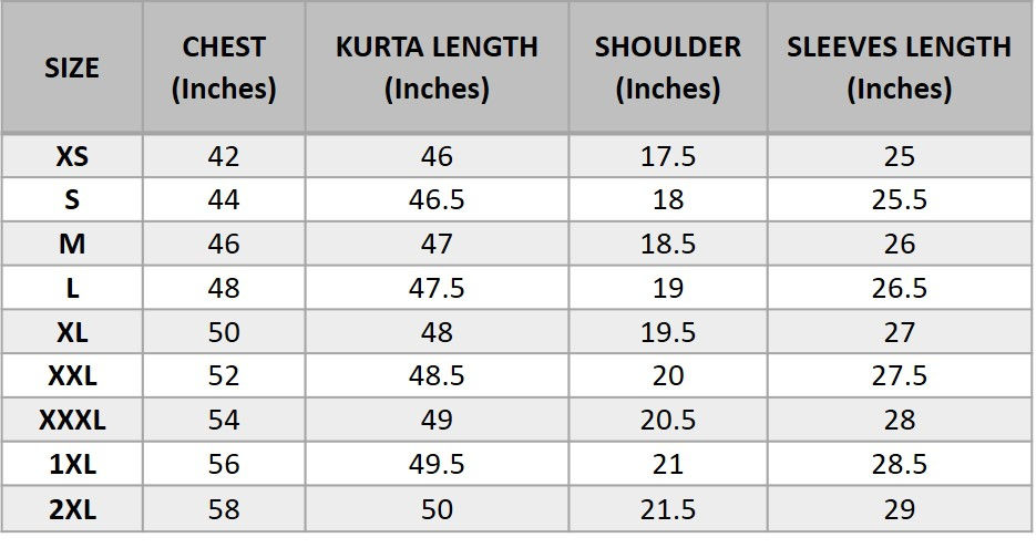 Men's English Size Chart