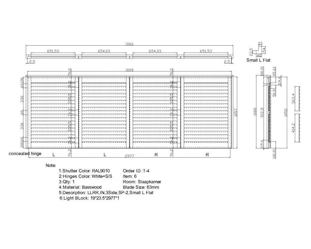 Technische tekening shutters