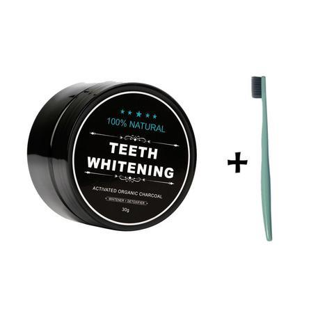 Charcoal Teeth Whitening Powder (100% Natural) + Toothbrush Pack