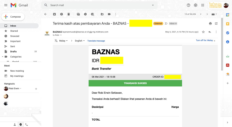 Bukti bayar Zakat Fitrah di Situs Online Baznas