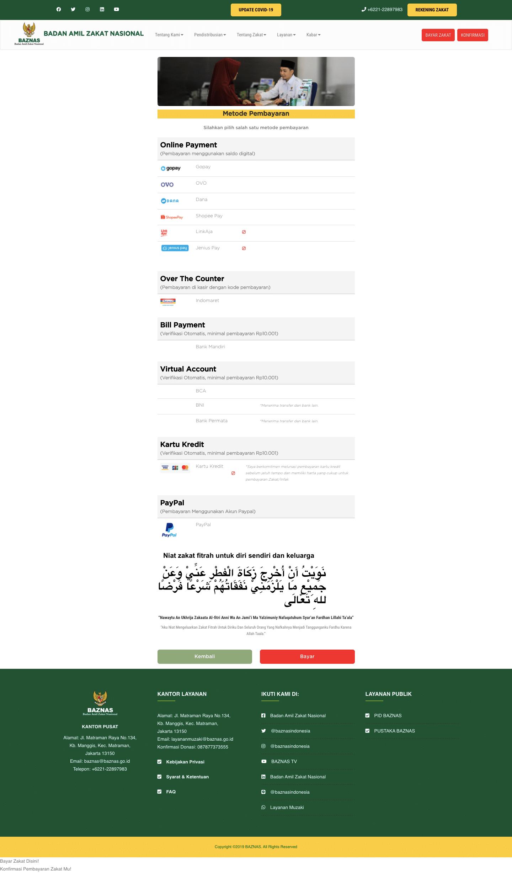 Metode Pembayaran Zakat Fitrah Online Di Situs Baznas