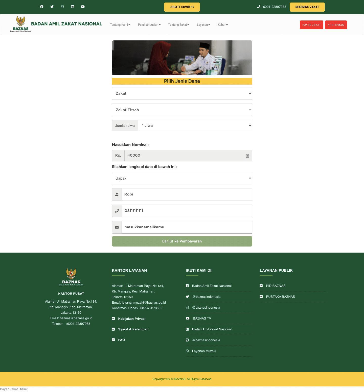 Panduan Membayar Zakat Fitrah Online Di Baznas.go.id