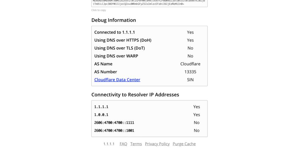 Cara mengecek apakah browser menggunakan DNS over HTTPS dari Cloudflare atau tidak.