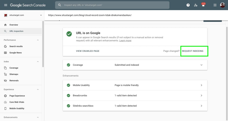 Cara melakukan request indeks pada mesin pencari Google