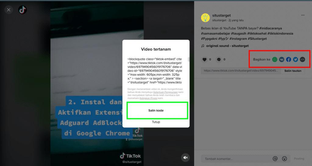 Cara menanam video TikTok pada Situs web WordPress