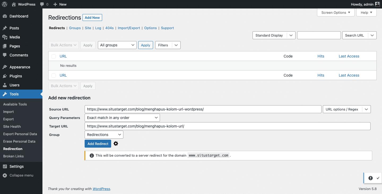Cara membuat URL redirection untuk mengatasi eror 404 not found di WP.