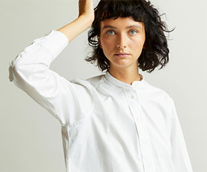 Budd Women's Grandad Shirt in White