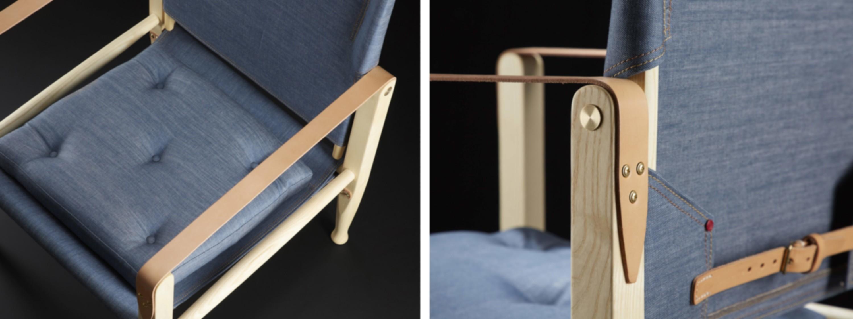 Kaare Klint's Safari Chair in denim by Hiut Denim Co.
