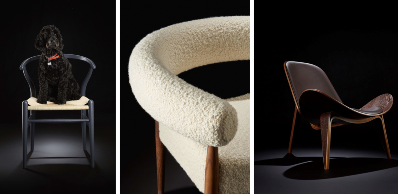 Hans J Wegner's CH24 Wishbone Chair in dark blue | Nanna Ditzel's Ring Chair in an exclusive finish | Hans J Wegner's CH07 Shell Chair