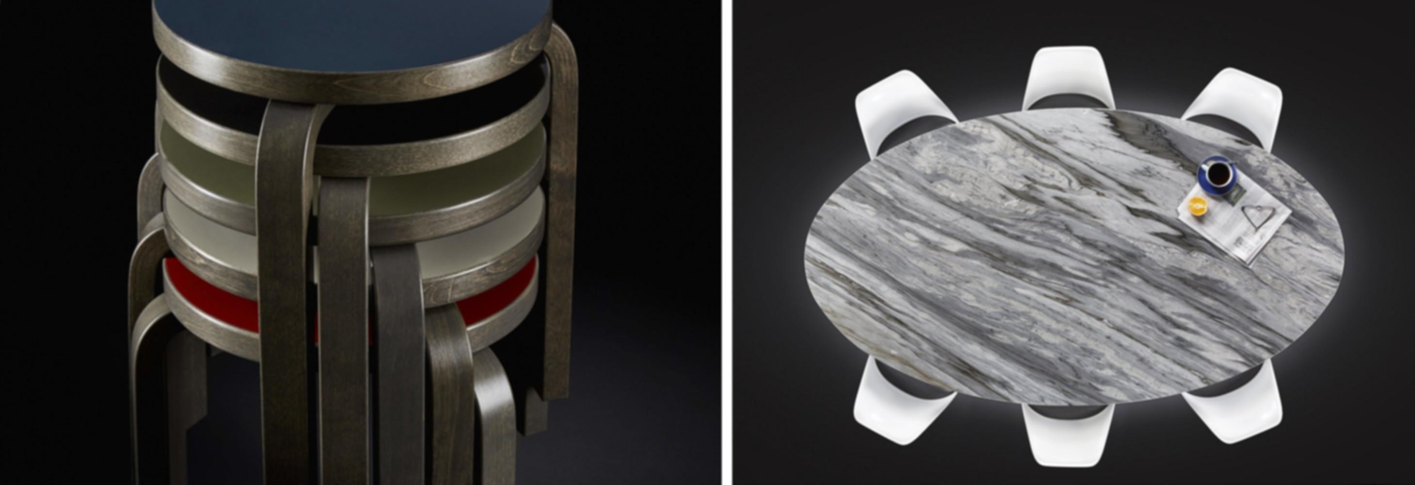 Alvar Aalto's Stool 60 in a grey stain finish | Eero Saarinen's Pedestal Table in a Calacatta Cielo marble finish