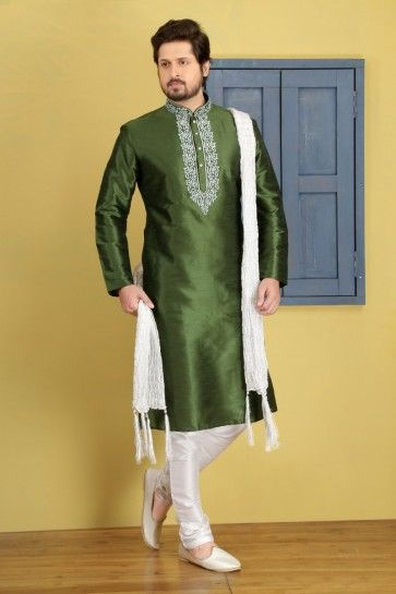 Green Dupion Art Silk Ethnic Wear Kurta Readymade Kurta Payjama