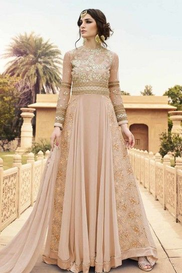 Beige Georgette, Mono Net Anarkali Suit
