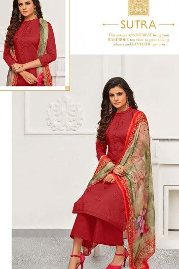 Red Cambric Cotton Palazzo Suit