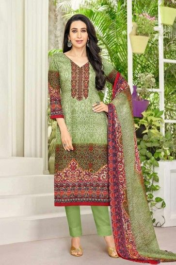 Green Pure Satin Salwar Kameez