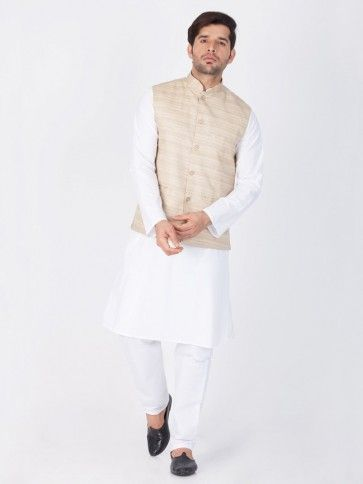 White Cotton Ethnic Wear Kurta Readymade Kurta Payjama With Jacket