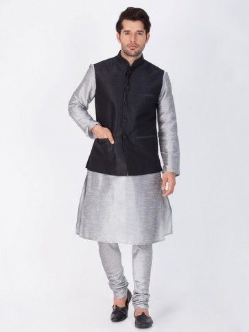 Grey Cotton Silk Ethnic Wear Kurta Readymade Kurta Payjama With Jacket