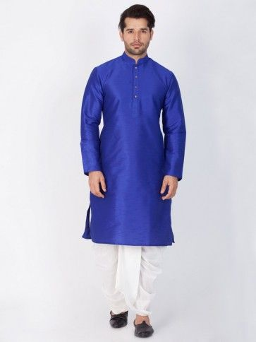Blue Cotton Silk Ethnic Wear Kurta Readymade Dhoti Kurta