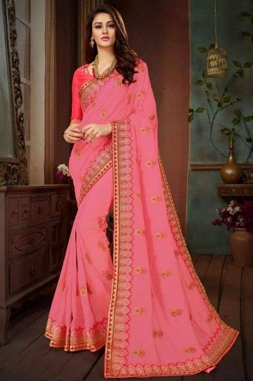 Pink Vichitra Silk saree